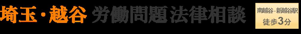埼玉・越谷労働問題法律相談 南越谷駅・新越谷駅徒歩3分